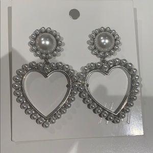H&M Pearl Heart Drop Earrings